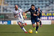 24th August 2019; Dens Park, Dundee, Scotland; Scottish Championship, Dundee Football Club versus Inverness Caledonian Thistle Football Club; Kane Hemmings of Dundee goes past James Vincent of Inverness Caledonian Thistle