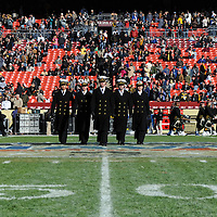 10 December 2011:   The Navy Midshipmen march on to the field prior to the game against the Army Black Knights at Fed Ex field in Landover, Md. in the 112th annual Army Navy game where Navy defeated Army, 27-21 for the 10th consecutive time.