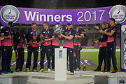 Eoin Morgan and team lift the Royal London One Day International Series Trophy after beating the Windies 4-0 during the One Day International match between England and West Indies at the Ageas Bowl, Southampton, United Kingdom on 29 September 2017. Photo by Dave Vokes.