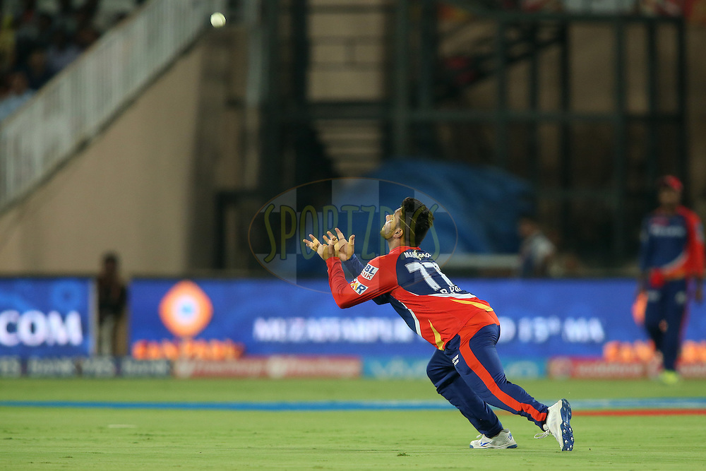 Rishabh Pant of Delhi Daredevils gets under the ball to take the catch to get Yuvraj Singh of Sunrisers Hyderabad wicket during match 42 of the Vivo IPL 2016 (Indian Premier League) between the Sunrisers Hyderabad and the Delhi Daredevils held at the Rajiv Gandhi Intl. Cricket Stadium, Hyderabad on the 12th May 2016<br /> <br /> Photo by Shaun Roy / IPL/ SPORTZPICS
