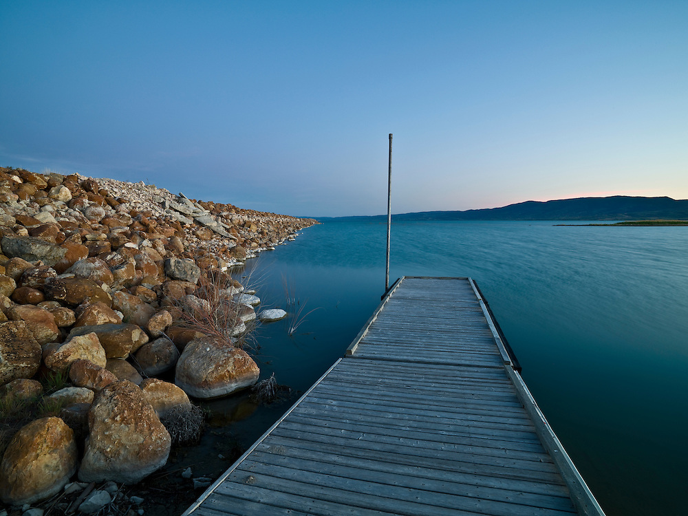 Last light illuminated a floating dock at the Idaho end of Bear Lake in the South Eastern portion of the state which adjoins Utah to the South. 0932