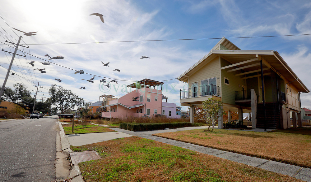 03 December 2013. Lower 9th Ward, New Orleans, Louisiana. <br /> Brad Pitt 'Make it Right' homes on Tennessee Street. <br /> Photo; Charlie Varley