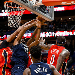 Nov 29, 2017; New Orleans, LA, USA; Minnesota Timberwolves center Karl-Anthony Towns (32) is fouled by New Orleans Pelicans forward Anthony Davis (23) just before being called for a second technical foul resulting in his ejection from the game during the second quarter of a game at the Smoothie King Center. Mandatory Credit: Derick E. Hingle-USA TODAY Sports