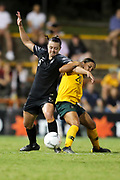 Meikayla Moore and Samantha Kerr tangle whilst contesting for the ball during the Cup of Nations Women's Football match, New Zealand Football Ferns v Matildas, Leichhardt Oval, Thursday 28th Feb 2019. Copyright Photo: David Neilson / www.photosport.nz