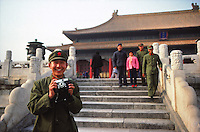 Chinese soldier as tourist at the Forbidden City, Beijing