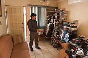 Fernando G. Rvas, artist and movie critic, at his house, Mexicali, Mexico...© Stefan Falke.http://www.stefanfalke.com/..