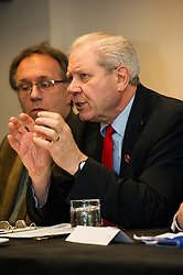Pictured: Jim Sillars<br /> Former UK trade minister Nigel Griffiths and former SNP deputy leader Jim Sillars were joined by Gary Parker, SNP activist and Tom Burns, ASLEF member as they spoke on the EU's negotiations with the United States for the Transatlantic Trade and Investment Partnership and the effect it could have on Scottish public services<br /> <br /> Ger Harley | EEm 30 May  2016