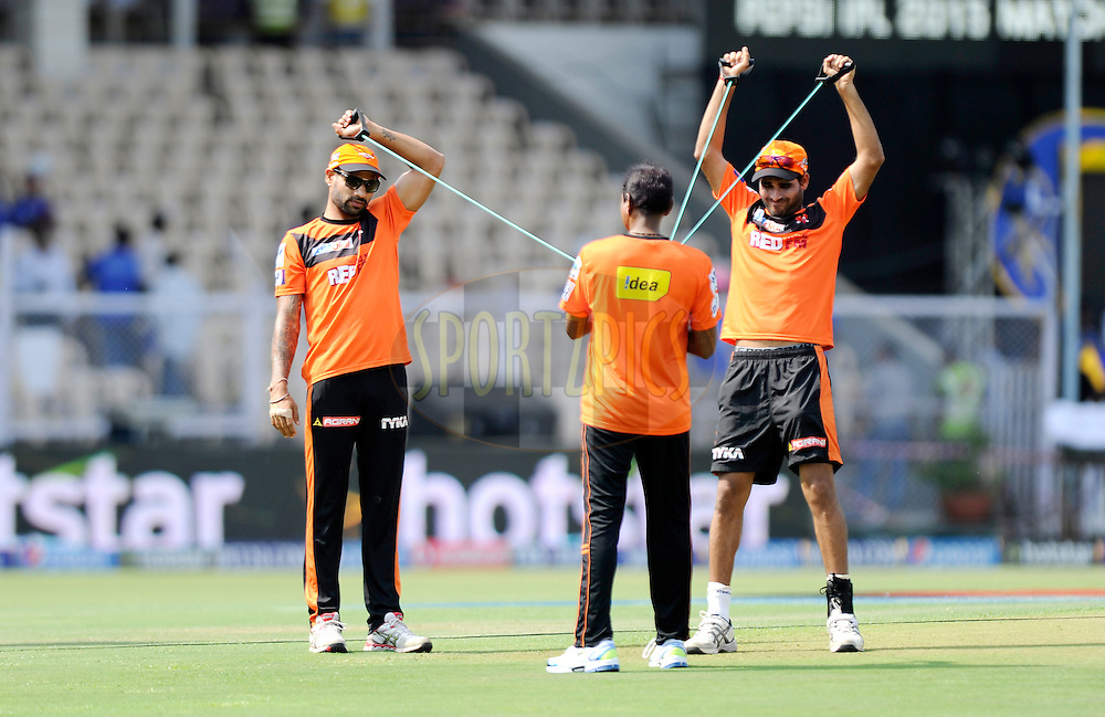 Shikhar Dhawan of Sunrisers Hyderabad and Bhuvneshwar Kumar of Sunrisers Hyderabad during a practice session before the start of match 41 of the Pepsi IPL 2015 (Indian Premier League) between The Rajasthan Royals and The Sunrisers Hyderabad held at the Brabourne Stadium in Mumbai, India on the 7th May 2015.<br /> <br /> Photo by:  Pal Pillai / SPORTZPICS / IPL