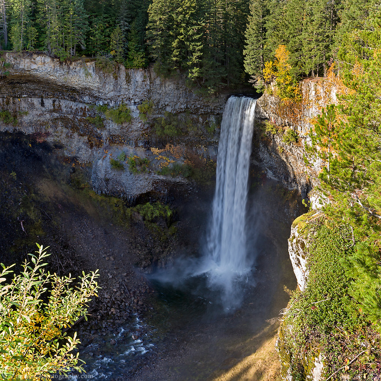 Fall colours at Brandywine Falls in Brandywine Falls Provincial Park near Whistler, British Columbia, Canada