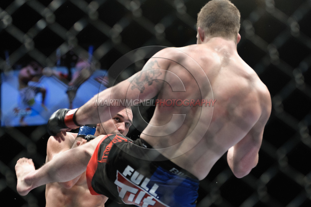 """LONDON, ENGLAND, FEBRUARY 21, 2009: Wilson Gouveia (facing) and Nate Marquardt during """"UFC 95: Sanchez vs. Stevenson"""" inside the O2 Arena in Greenwich, London."""