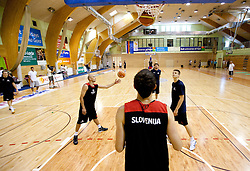 Nebojsa Joksimovic, Miha Zupan, Mirza Begic and Dino Muric during practice session of Slovenian National Basketball team during training camp for Eurobasket Lithuania 2011, on July 12, 2011, in Arena Vitranc, Kranjska Gora, Slovenia. (Photo by Vid Ponikvar / Sportida)