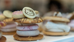 © Licensed to London News Pictures. 01/06/2016. London, UK. A pop up cafe has opened for the summer at Cutter & Squidge in Soho serving Hello Kitty's Secret Garden Afternoon Tea.  Natural, handmade products inspired by the Hello Kitty character popular worldwide, are on offer in Sanrio's first official Helly Kitty pop up cafe in Europe. Photo credit : Stephen Chung/LNP