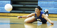 Travis Morisse/The Hutchinson News<br /> Hutchinson's Britt Ronsick makes a diving dig against Salina South Saturday during the AVCTL Preseason tournament at the Salthawk Activities Center.