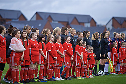 NEWPORT, WALES - Thursday, April 4, 2019: Wales players line-up before an International Friendly match between Wales and Czech Republic at Rodney Parade. (Pic by David Rawcliffe/Propaganda)