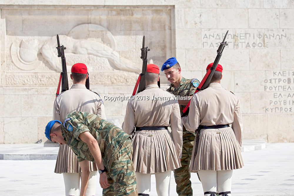 Evzones getting ready for the Changing of the Guard ceremony at the Tomb of the Unknown Soldier in Athens, Greece