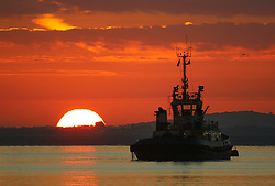 © Licensed to London News Pictures. 12/09/2016. The sun rises this morning over the Thames with a tug in the foreground. Gravesend recorded the hottest temperature of anywhere in the country in August. The south east is expected to have days of warm, sunny weather. Credit : Rob Powell/LNP