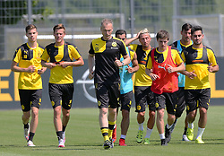 30.06.2015, Trainingsanlage, Dortmund, GER, 1. FBL, Borussia Dortmund, Trainingsauftakt, im Bild v.l. Julian Weigel (Dortmund), Hendrik Bonmann, Co-Trainer, Henrikh Mkhitaryan (Dortmund), Kevin Kampl (Dortmund), Jonas Hofmann (Dortmund), Roman Buerki (Dortmund), Konditionstrainer Rainer Schrey (Dortmund) und Ilkay G??ndogan / Guendogan (Dortmund) beim auslaufen // during a traning session of German 1st Bundeliga Club Borussia Dortmund at Trainingsanlage Borussia Dortmund in Dortmund, Germany on 2015/06/30. EXPA Pictures © 2015, PhotoCredit: EXPA/ Eibner-Pressefoto/ Hommes<br /> <br /> *****ATTENTION - OUT of GER*****
