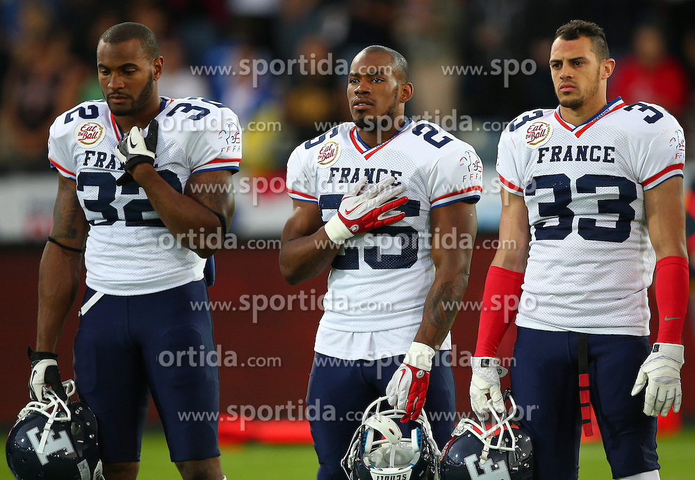 04.06.2014, UPC Arena, Graz, AUT, American Football Europameisterschaft 2014, Gruppe B, Frankreich (FRA) vs Oesterreich (AUT), im Bild Steve  Berton , (Team France, LB , #32),  Theophile  Sasa Essele , (Team France, RB , #25) und  Sandy  Marcin , (Team France, DB , #33) // during the American Football European Championship 2014 group B game between France vs Austria at the UPC Arena, Graz, Austria on 2014/06/04. EXPA Pictures © 2014, PhotoCredit: EXPA/ Thomas Haumer