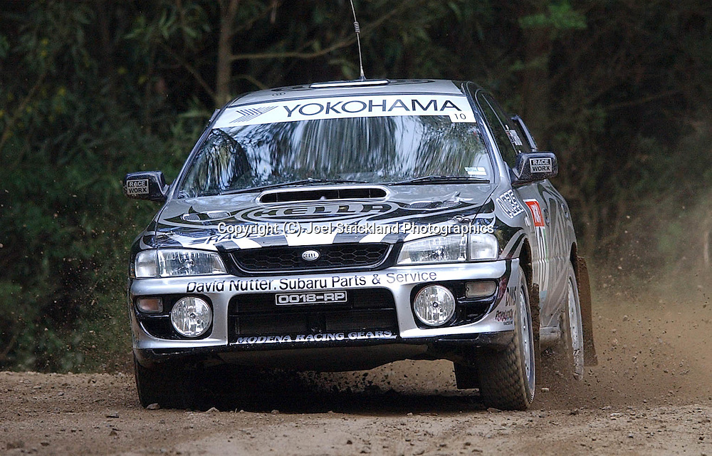 Simon & Sue Evans .Subaru Impreza WRX.Motorsport-Rally.2003 NGK Rally of Melbourne.Yarra Valley, Victoria .5th of October 2003 .(C) Joel Strickland Photographics