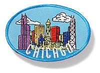 Chicago skyline patch on white background