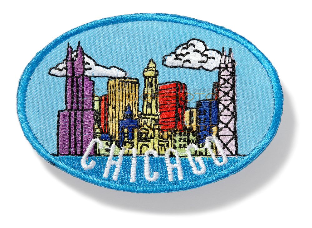 Chicago skyline patch on white background