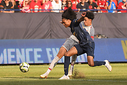 July 28, 2018 - Ann Arbor, MI, U.S. - ANN ARBOR, MI - JULY 28: Manchester United Forward Tahith Chong (44) and Liverpool Defender Curtis Jones (48) tussle for control in the second half of the ICC soccer match between Manchester United FC and Liverpool FC on July 28, 2018 at Michigan Stadium in Ann Arbor, MI. (Photo by Allan Dranberg/Icon Sportswire) (Credit Image: © Allan Dranberg/Icon SMI via ZUMA Press)