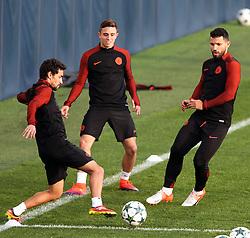 Jesus Navas of Manchester City trains with Pablo Maffeo and Sergio Aguero - Mandatory by-line: Matt McNulty/JMP - 31/10/2016 - FOOTBALL - City Football Academy - Manchester, England - Manchester City v Barcelona - UEFA Champions League - Group C