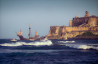 Columbus ship replica leaving San Juan (La Gran Regata Colón 1992)