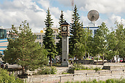 Golden Heart Plaza and the Fairbanks Rotary Club Clock, downtown in Fairbanks, Alaska. The downtown plaza was built to celebrate the silver anniversary of Alaska statehood in 1984.