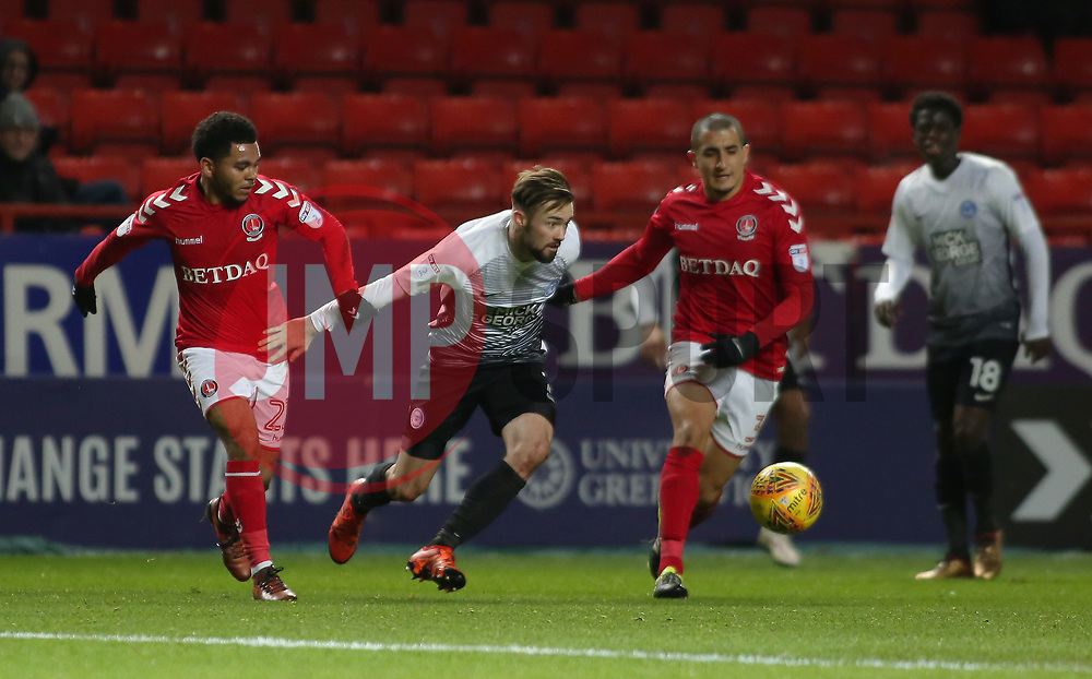 Gwion Edwards of Peterborough United in action with Jay Dasilva of Charlton Athletic - Mandatory by-line: Joe Dent/JMP - 28/11/2017 - FOOTBALL - The Valley - Charlton, London, England - Charlton Athletic v Peterborough United - Sky Bet League One