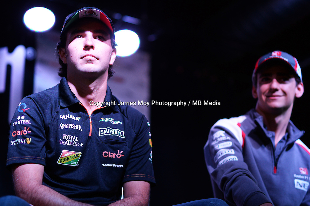 (L to R): Sergio Perez (MEX) Sahara Force India F1 and Esteban Gutierrez (MEX) Sauber at the Fans' Forum.<br /> United States Grand Prix, Wednesday 29th October 2014. Circuit of the Americas, Austin, Texas, USA.