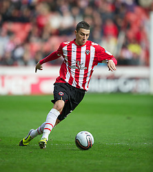 SHEFFIELD, ENGLAND - Saturday, March 17, 2012: Sheffield United's Will Hoskins in action against Tranmere Rovers during the Football League One match at Bramall Lane. (Pic by David Rawcliffe/Propaganda)