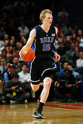 Nov 21, 2008; New York, NY, USA; Duke Blue Devils forward Kyle Singler (12) brings the ball upcourt during the 2K Sports Classic Championship game at Madison Square Garden.