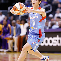 08 August 2014: Atlanta Dream guard Celine Dumerc (9) passes the ball during the Los Angeles Sparks 80-77 overtime win over the Atlanta Dream, at the Staples Center, Los Angeles, California, USA.