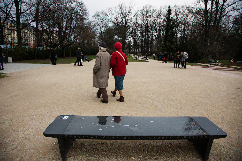 "One of fifteen interactive ""Chopin benches"" placed along a walking route through Warsaw at important sites in Chopin's Warsaw history. At at the Fryderyk Chopin Monument in Łazienkowski Park."