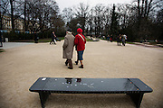 """One of fifteen interactive """"Chopin benches"""" placed along a walking route through Warsaw at important sites in Chopin's Warsaw history. At at the Fryderyk Chopin Monument in Łazienkowski Park."""