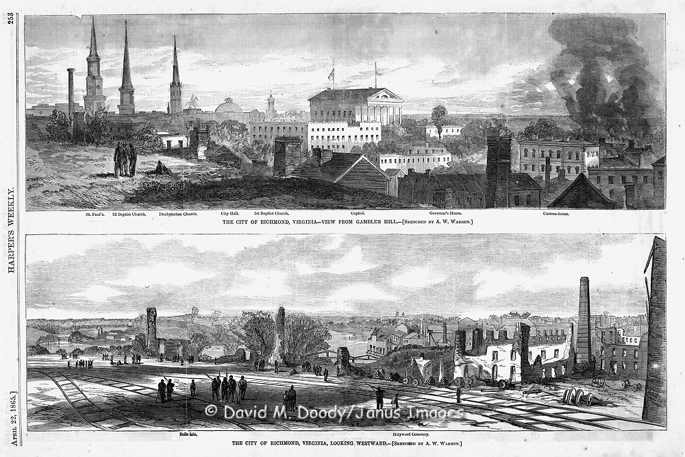 Civil War: Destruction in Richmond and Petersburg, Union forces occupy the capitol of the Confederacy. Harper's Weekly April 22, 1865 page 253