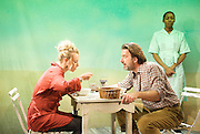 Fanta Orange<br /> by Sally Woodcock <br /> directed by Gareth Machin<br /> at the Finborough Theatre, London, Great Britain <br /> 2nd Ovember 2011 <br /> press photocall<br /> <br /> Jessica Ellerby<br /> Jay Villiers<br /> Kehinde Fadipe <br /> <br /> Photograph by Elliott Franks