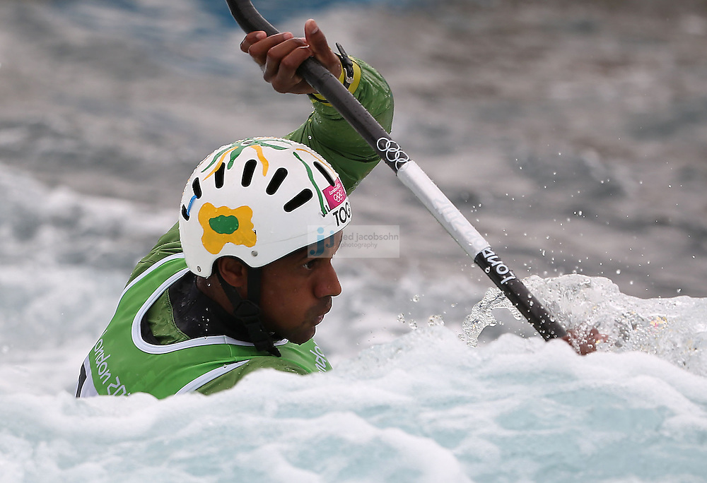 Benjamin Boukpeti of Togo competes during the semifinals of the kayak slalom single 1k event at the Lee Valley White Water Centere during day 5 of the London Olympic Games London, England, United Kingdom on August 1, 2012..(Jed Jacobsohn/for The New York Times)....