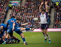 EDINBURGH, SCOTLAND - FEBRUARY 11: French scrum half, Maxime Machenaud clears as Hamish Watson tries to block during the NatWest Six Nations match between Scotland and France at Murrayfield on February 11, 2018 in Edinburgh, Scotland. (Photo by MB Media/Getty Images)
