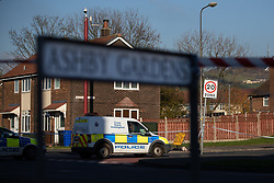 FILE IMAGE © Licensed to London News Pictures . 18/11/2018. Manchester , UK . Police and forensic scenes of crime investigators work behind a sealed off cordon outside the Harehill Tavern in a residential area on Hattersley Road West in Hyde after a man was shot the stomach last night (17th November 2018) . Photo credit : Joel Goodman/LNP