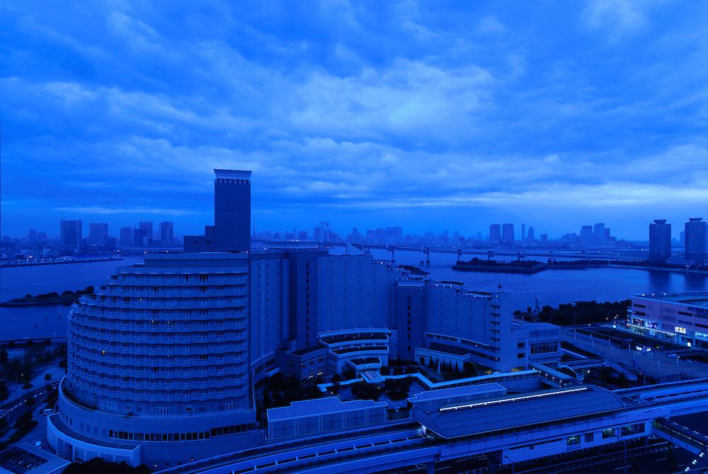 View of Tokyo Bay and Tokyo at dusk