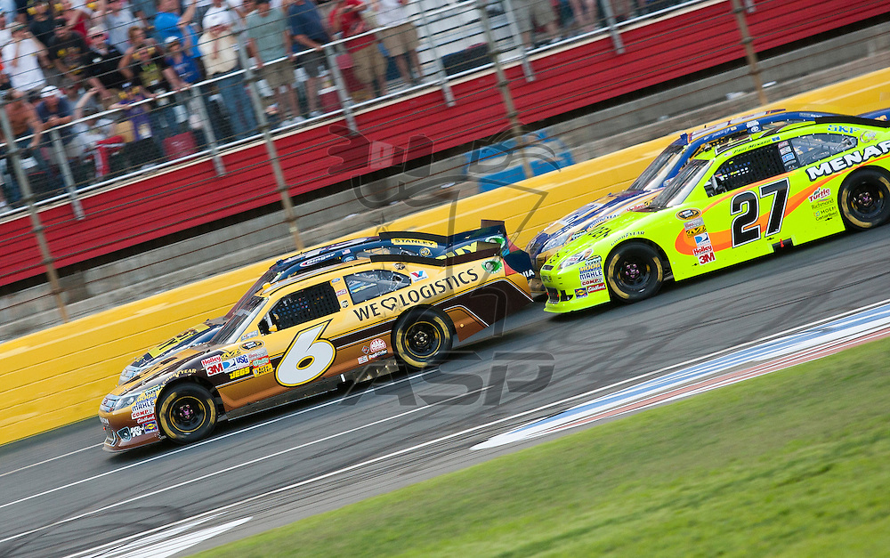 CONCORD, NC - MAY 21, 2011:  David Ragan brings the field to the green flag during the Showdown at the Charlotte Motor Speedway in Concord, NC.