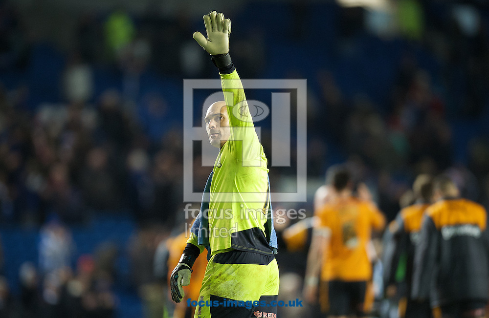 Goalkeeper Carl Ikeme of Wolverhampton Wanderers  thanks the fans after their 0-1 win in the Sky Bet Championship match at the American Express Community Stadium, Brighton and Hove<br /> Picture by Alan Stanford/Focus Images Ltd +44 7915 056117<br /> 01/01/2016