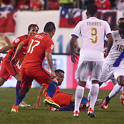 Panama Attacker ABDIEL ARROYO (16), right, dribbles up the field in the second half of a Copa America Centenario Group D match between the Chile and Panama Tuesday, June. 14, 2016 at Lincoln Financial Field in Philadelphia, PA.