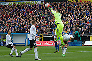 Everton goalkeeper Joel Robles  making a vital save during the The FA Cup fourth round match between Carlisle United and Everton at Brunton Park, Carlisle, England on 31 January 2016. Photo by Craig McAllister.