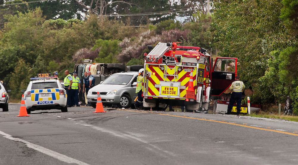 The scene at an accident between a car and a logging tuck on SH1 in which 4 people died and a boy is in a serious condition at Whangarei Hospital, Whangarei, New Zealand, Tuesday, December 23, 2014. Credit:SNPA / Malcolm Pullman