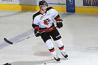 KELOWNA, CANADA, OCTOBER 11: Dylan Busenius #2 of the Medicine Hat Tigers skates on the ice of the Kelowna Rockets as the Medicine Hat Tigers visited the Kelowna Rockets on October 11, 2011 at Prospera Place in Kelowna, British Columbia, Canada (Photo by Marissa Baecker/shootthebreeze.ca) *** Local Caption ***Dylan Busenius;