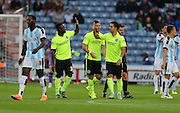 Brighton central midfielder, Beram Kayal opens the scoring in the first minute during the Sky Bet Championship match between Huddersfield Town and Brighton and Hove Albion at the John Smiths Stadium, Huddersfield, England on 18 August 2015.
