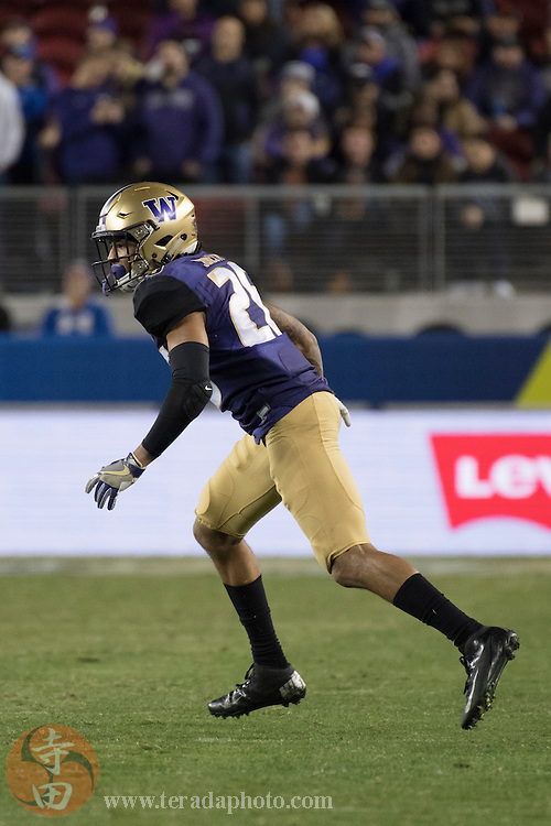 December 2, 2016; Santa Clara, CA, USA; Washington Huskies defensive back Sidney Jones (26) during the fourth quarter in the Pac-12 championship against the Colorado Buffaloes at Levi's Stadium. The Huskies defeated the Buffaloes 41-10.